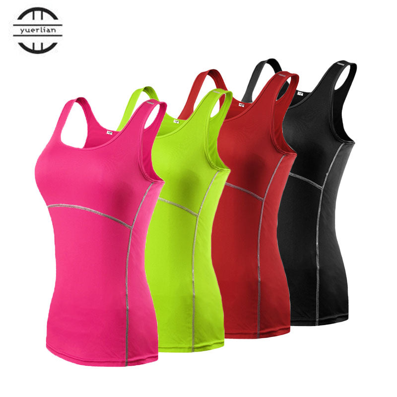 Yuerlian Hot Girls Skinny Sportswear Compression Fitness Tights Gym Yoga Shirt Run Sports suit Women Bodybuilding Crop Tank Tops