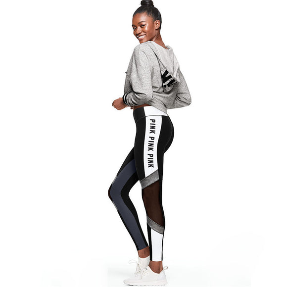 Letters Print Patchwork Women Sporting Leggings For Women Fashion High Waist Push Up Dancing Gymming Pants Ladies Fitness