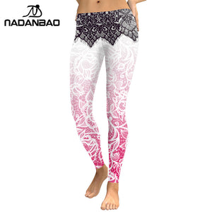 NADANBAO Women Leggings Mandala Flower 3D Digital Printing Slim Pink Fitness Woman leggins Pencil Pants