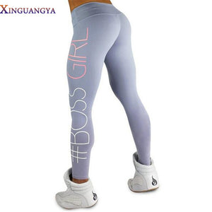 Women Print Boss Girl Printing leggings Fashion Slim High Waist Fitness Leggings Casual leggings Girl  legginsy fitness