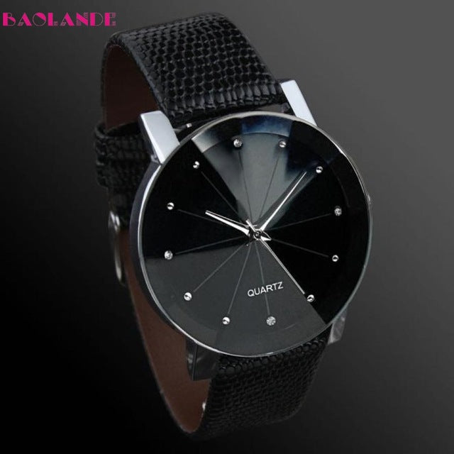 BAOLANDE2017 Luxury Unisex watches Quartz Sport watch Stainless Steel Dial Leather Band Wrist Watch Men Feb 14