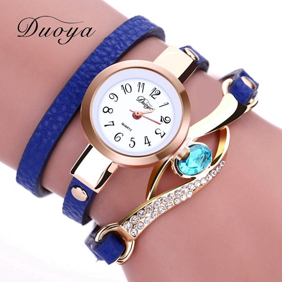 Duoya Brand Watch Women Luxury Gold Eye Gemstone Dress Watches Women Gold Bracelet  Halloween Gift Leather Quartz Wristwatches