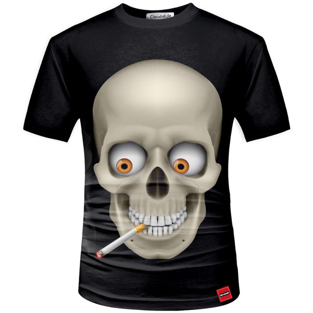Skull 3d Print Men Fashion TShirt Summer Short Sleeve Casual Breathable Tops Tee Plus Size 5XL Homme