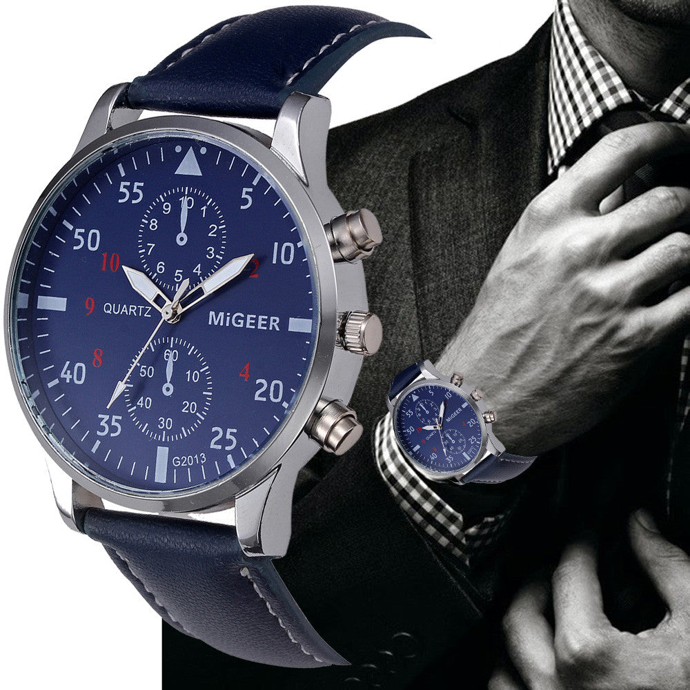 MIGGER Retro Design Men Watches Casual PU Leather Band Analog Alloy Quartz Wrist Watch Relogio masculino montre homme Clock New