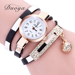 2017 New Duoya Watches Women Luxury Gold Women's Bracelet Wristwatch Ladies Female Leather Vintage Fashion Watch Christmas Gift