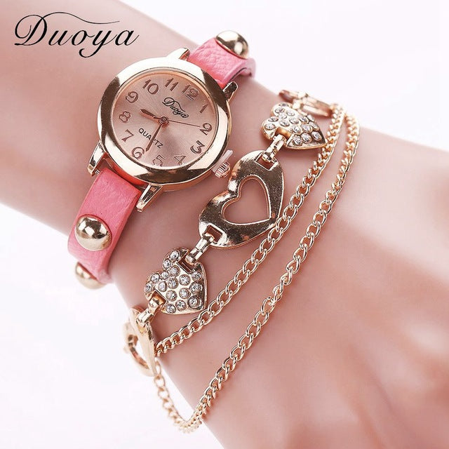 Duoya Brand Fashion Watches Women Luxury Rose Gold Heart Leather Wristwatches Ladies Bracelet Chain Quartz Clock Christmas Gift