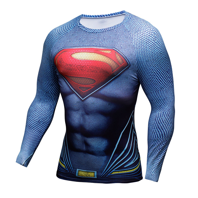 Compression Shirt Batman VS Superman 3D Printed T-shirts Men Raglan Long Sleeve Cosplay Costume Fit Clothing Fitness Tops Male