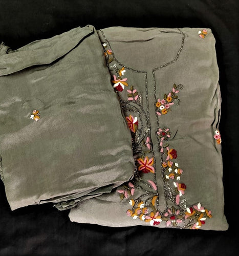 Metallic grey with multicolor floral embroidery chiffon salwar set | HLL44