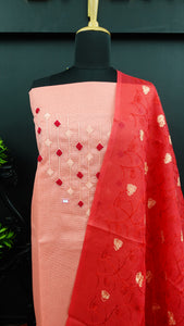 Peach colour silky kota salwar set with hand embroidery | ACT201