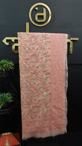 Peach color lucknowi embroidered organza saree | MS329