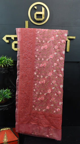 Mauve color lucknowi embroidered organza saree | MS326