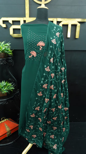 Bottle green color georgette salwar set with embroidery | PF538