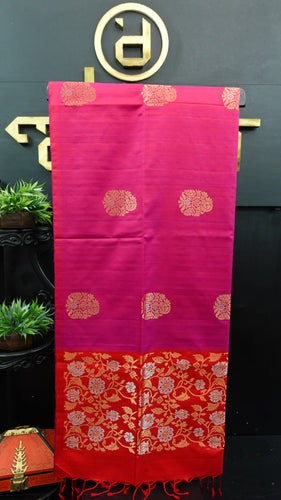 Magenta pink color handloom soft silk saree | AJ287