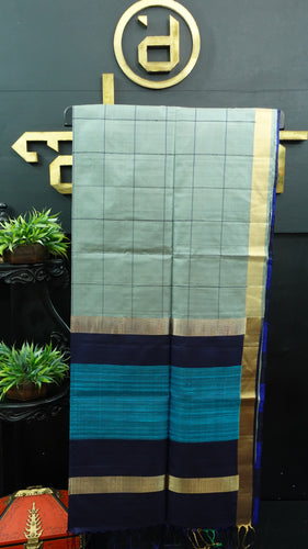 Grey color handloom soft silk saree | AJ285