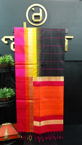 Black check color handloom soft silk saree | AJ283