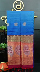 Blue color handloom soft silk saree | AJ282