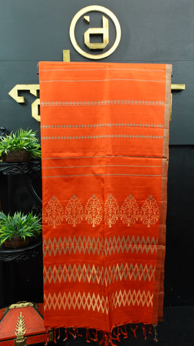 Brick orange color handloom soft silk saree | AJ279