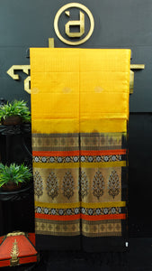 Yellow with black combination color handloom soft silk saree | AJ278