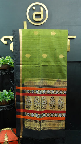 Dark olive green and black color handloom soft silk saree | AJ277