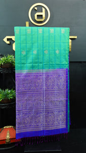 Sea green and purple blue color handloom soft silk saree | AJ276