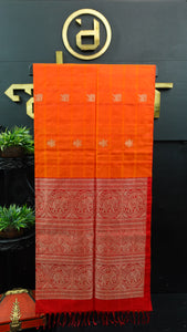 Orange and red combination color handloom soft silk saree | AJ275