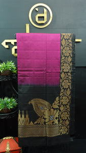 Magenta with black color handloom soft silk saree | AJ273