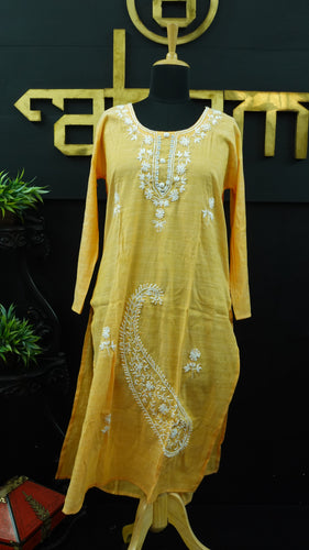 Mango yellow color embroidered cotton palazzo set | SW421