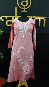 Pink color embroidered cotton palazzo set | SW422