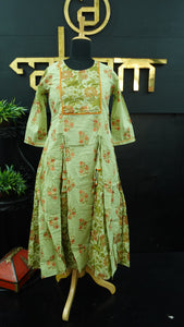 Pastel green color printed soft cotton palazzo set | CS152