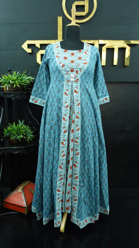 Light blue color combination printed long length kurtha | CS136
