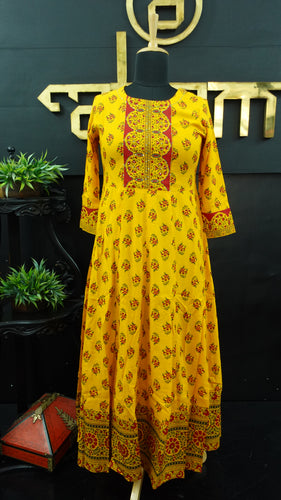 Yellow color combination printed long length kurtha | CS138