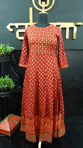 Brick maroon color combination printed long length kurtha | CS137