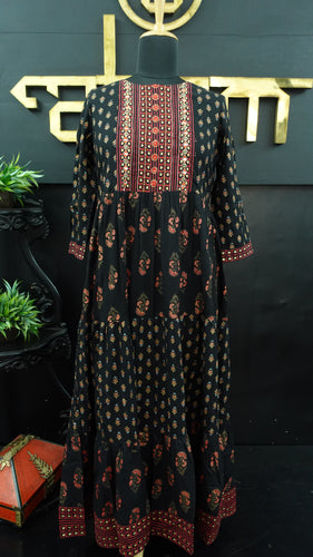 Black color khadi printed long length kurtha | CS135