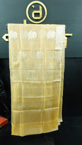 Gold and silver shade colour kanchi silk tissue saree | JK113