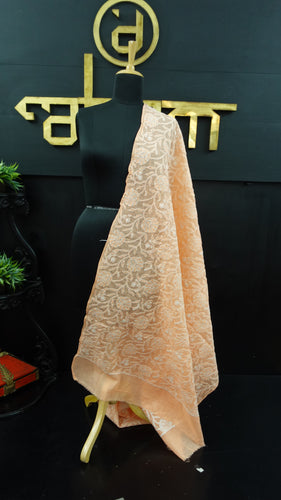 Peach colour chikankari cotton dupatta | SR140