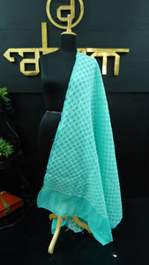 Teal green colour chikankari cotton dupatta | SR143
