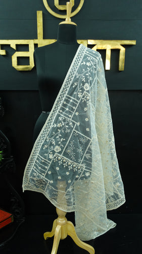 Net-lucknowi embroidered off white colour dupatta | FF107