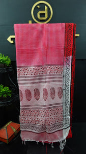 Fuchsia pink and red color combination Bhagalpuri organza saree | SF474