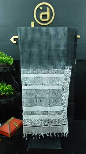Greyish black and white color combination Bhagalpuri organza saree | SF473