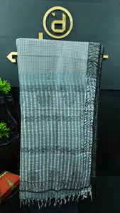 Greenish grey and black color combination Bhagalpuri organza saree | SF475