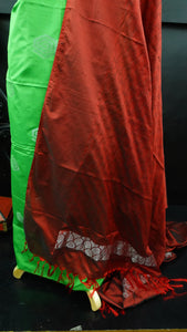 Green and maroon color combination cotton-silk salwar set | SN288
