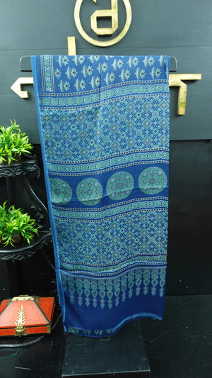 Blue and green color combination ajrak printed modal silk saree | PF587