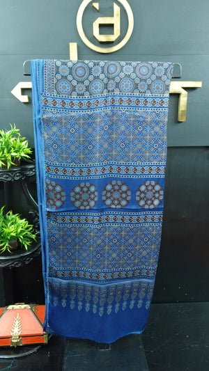 Blue color combination ajrak printed modal silk saree | PF585