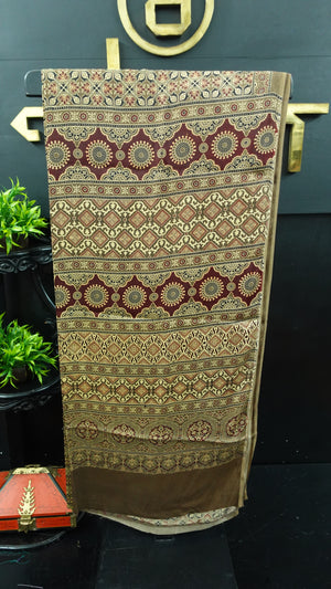 Brown color combination ajrak printed modal silk saree | PF586