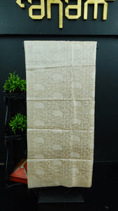 Beige colour desi tussar saree with computerized embroidery | ACT193