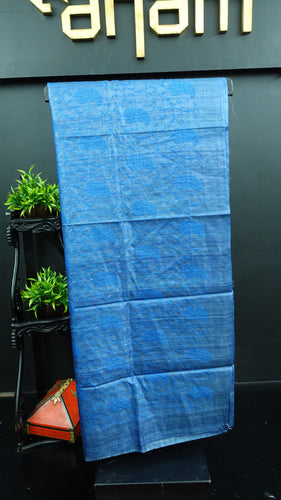 Mettalic blue colour desi tussar saree with computerized embroidery | ACT192