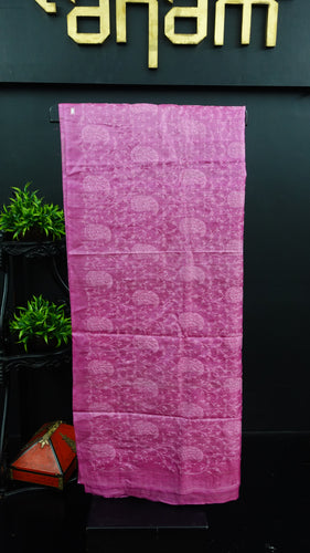 Onion pink colour desi tussar saree with computerized embroidery | ACT187