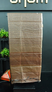 Brown colour desi tussar saree with silver weaving | ACT186