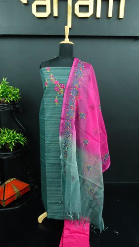 Peacock green colour jute finish synthetic salwar with organza dupatta | PF731