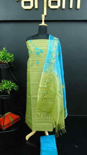Green colour jute finish synthetic salwar with organza dupatta | PF730
